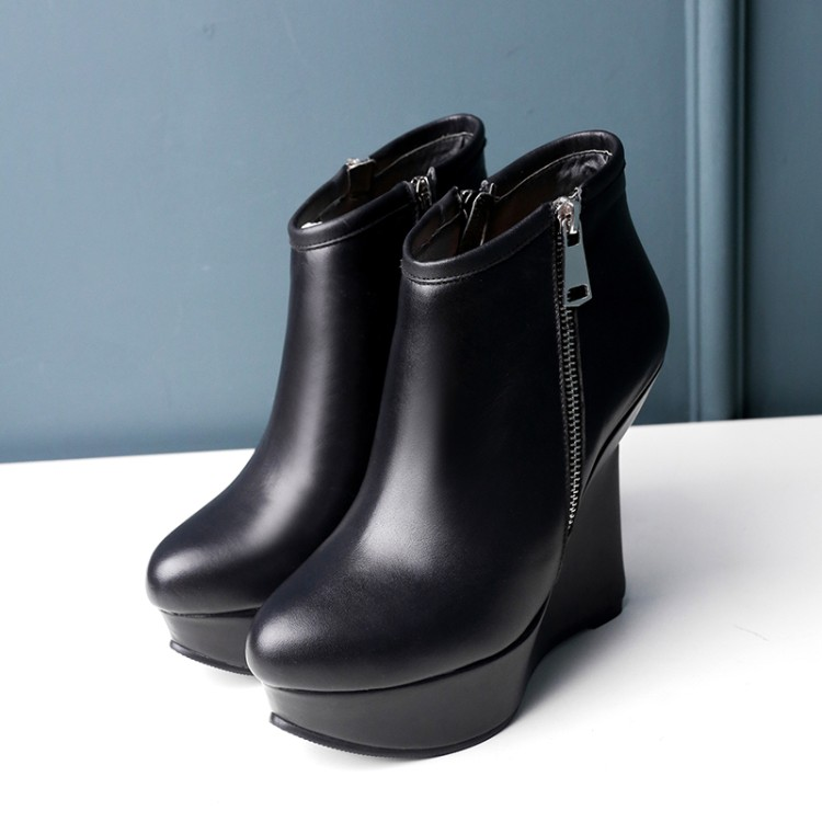 ФОТО 34-39Women's boots 2016 fashion simple super high wedges genuine leather women's boots