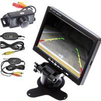 Wireless Transmitter/Receiver HD Waterproof Rear View Camera Night Vision Parking Backup Camera+7'' Car Monitor Rearview Screen
