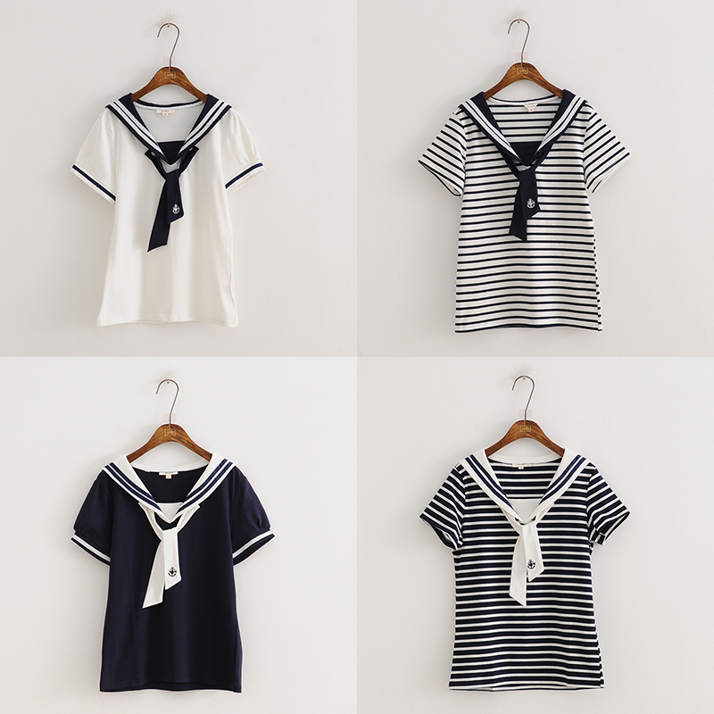 WXCTEAM Stripe Top Shirt Japanese Lolita-Style Zebra Female Sailor-Collar Girls Casual