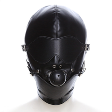 Fetish Sex Mask Bdsm Bondage Sexy Headgear Open Mouth Gag Blindfold Leather Restraint Hood Toys for Couples Adult Games