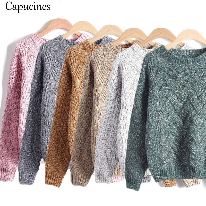 Capucines Neue Herbst Winter Frauen Pullover Pullover Mode Plaid Mohair Pullover Weibliche Casual Lose Dicke Strick Jumper