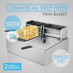 VEVOR 2x10L Deep Fryer Stainless Steel Commercial Twin Double Tank Electric Chip