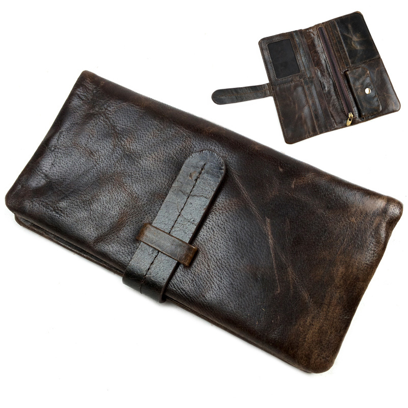 Luxury retro men wallets oil wax genuine leather wallet purse cowhide carteira male card holder purse High Quality new luxury brand 100% top genuine cowhide leather high quality men long wallet coin purse vintage designer male carteira wallets