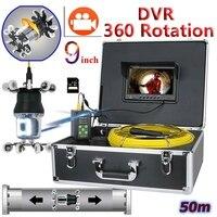 Video Rohr Kamera 9 Zoll 360 Grad 20 Weiß + 18 IR LED DVR Recorder Wasserdicht Abflussrohr Kanalisation Video inspektion Kamera System-in Überwachungskameras aus Sicherheit und Schutz bei