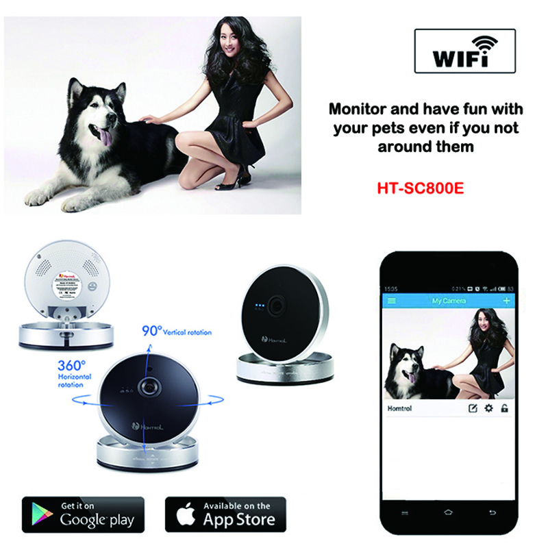 Homtrol hot model HD 720P baby cam with Night Vision 10M indoor wireless 720 pixel max support 128G TF card