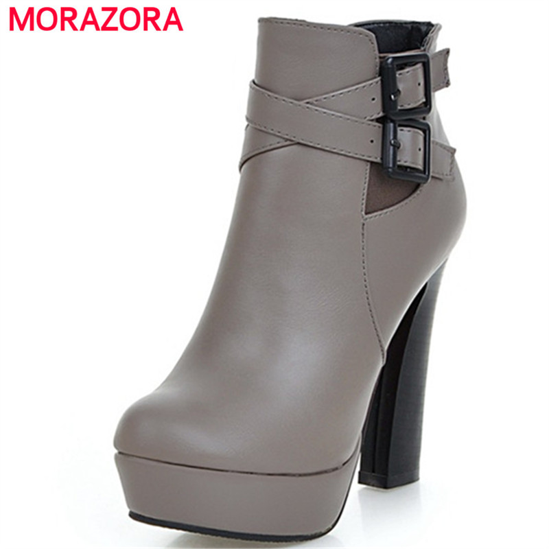MORAZORA Round toe zip platform shoes woman high heels ankle boots for women fashion autumn boots female big size 34-43 enmayla ankle boots for women low heels autumn and winter boots shoes woman large size 34 43 round toe motorcycle boots