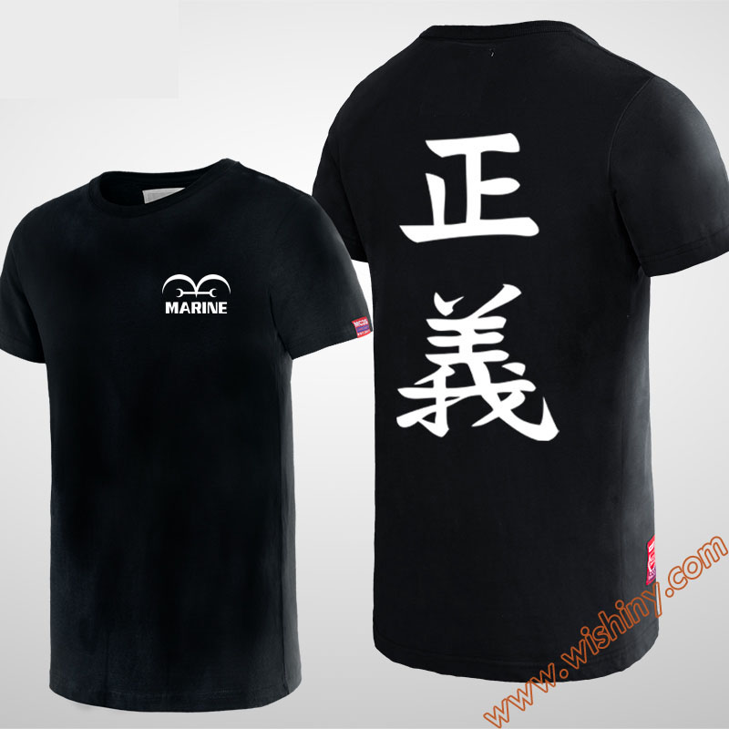 Cool One Piece T-shirt Black Short Sleeve Animation Tee Shirt for youth