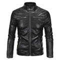 Men Black Leather & Suede Jackets 2016 New Male Punk Style Slim Leather Jacket Large Size 4XL