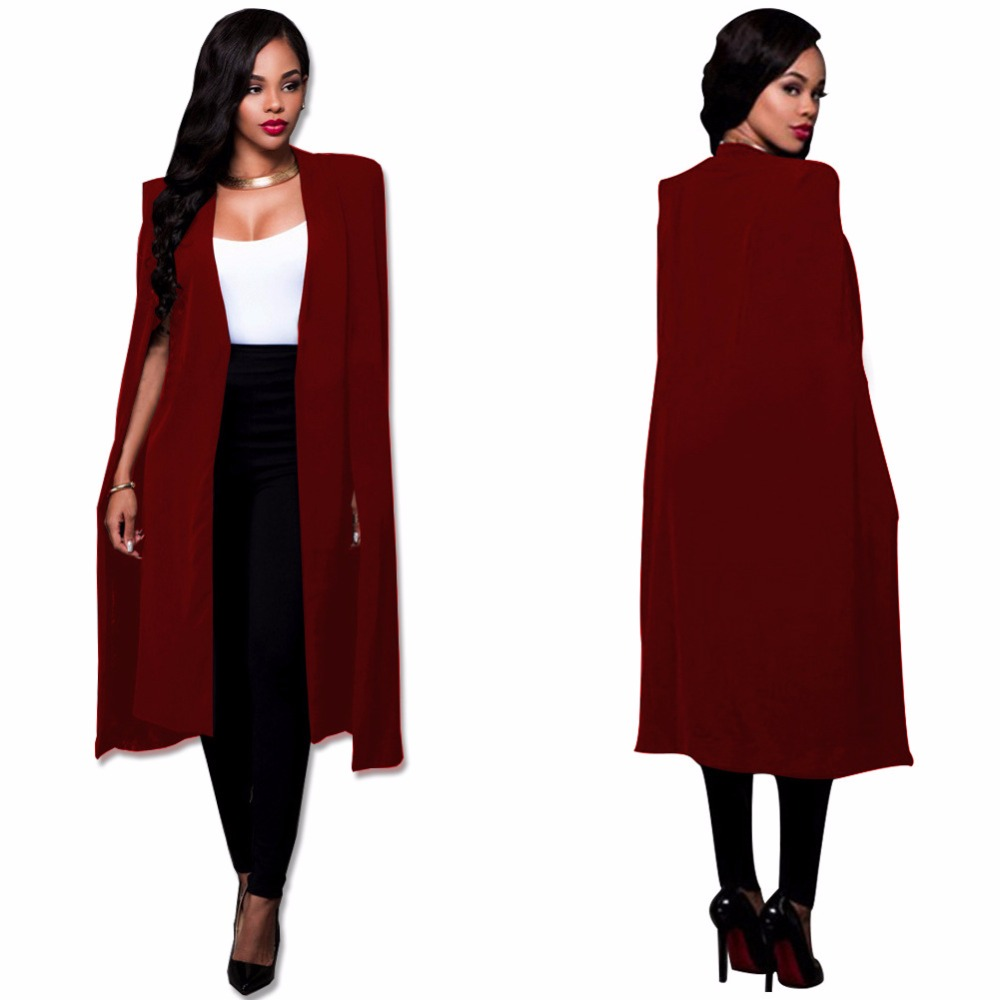 5 colors Open Front Cape Long Sleeve Blazer coat 2018 Cloak Sleeve Longline Plain Outer plus size s-4xl Women Elegant Blazer