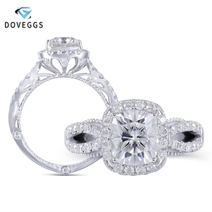 DovEggs Luxury 14K White Gold Center 2ct 7*8mm F Color Cushion Cut Moissanite Halo Engagement Ring for Women Band Width 3.8mm