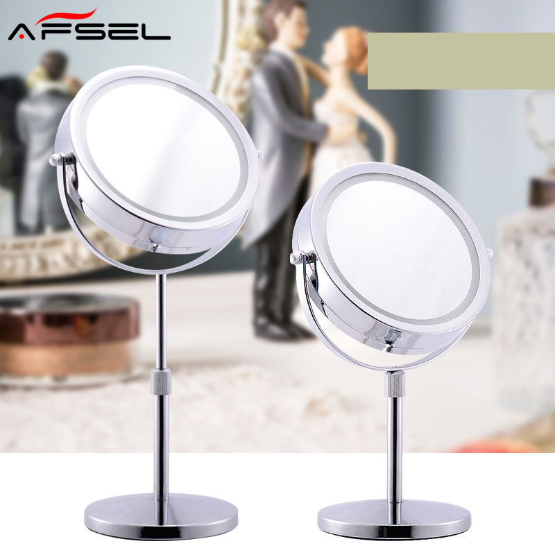 AFSEL Brand 7 Inch LED Table Mirror Double Sided Makeup Mirror Lighted Cosmetic Mirror  5X/10x Magnification AAA Battery HD 6 inch 5x magnification cosmetic makeup mirror round shape 2sided rotating magnifier mirror led light makeup mirror for gift