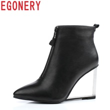 EGONERY fashion city woman ankle boots side zipper pointed toe riding equestrian european and american style Crystal shoes