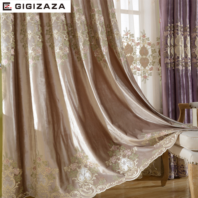 Luxury Velvet Embroidery Curtains Heavy Fabric Window Curtain Ivory Color Black Out Blinds For Bedroom Living