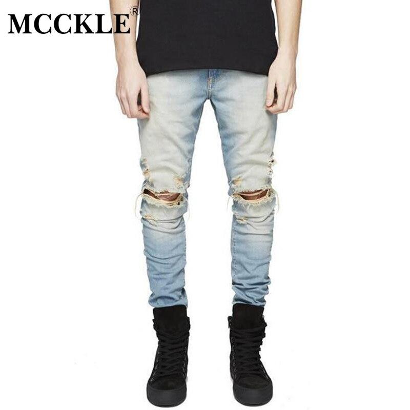 MCCKLE Famous Brand Designer Slim Fit Ripped Jeans Men Hi-Street Mens Distressed Denim Biker Knee Holes Washed Destroyed Jeans