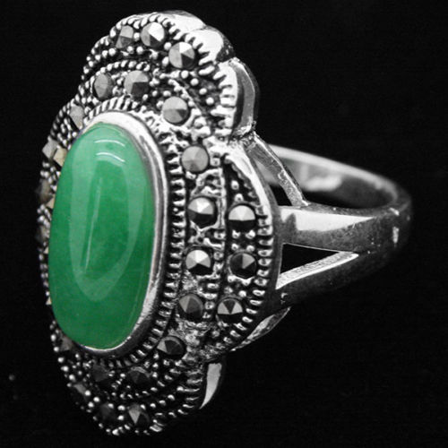 24*16mm VINTAGE NATURAL FREEN Natural Jade MARCASITE 925 SILVER RING SIZE 7/8/9/10