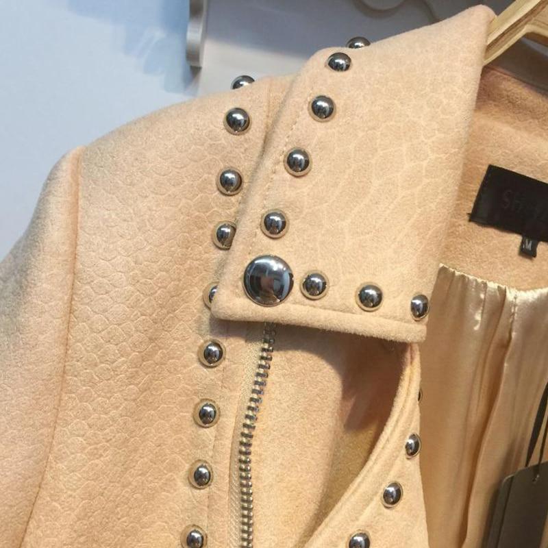 2017 Vintage Nouveau Vestes En Cuir Automne Rivets apricot Noir Bf Mince Survêtement Printemps Moto Daim Streetwear Manteau Femmes H131 Courtes qxfqrg