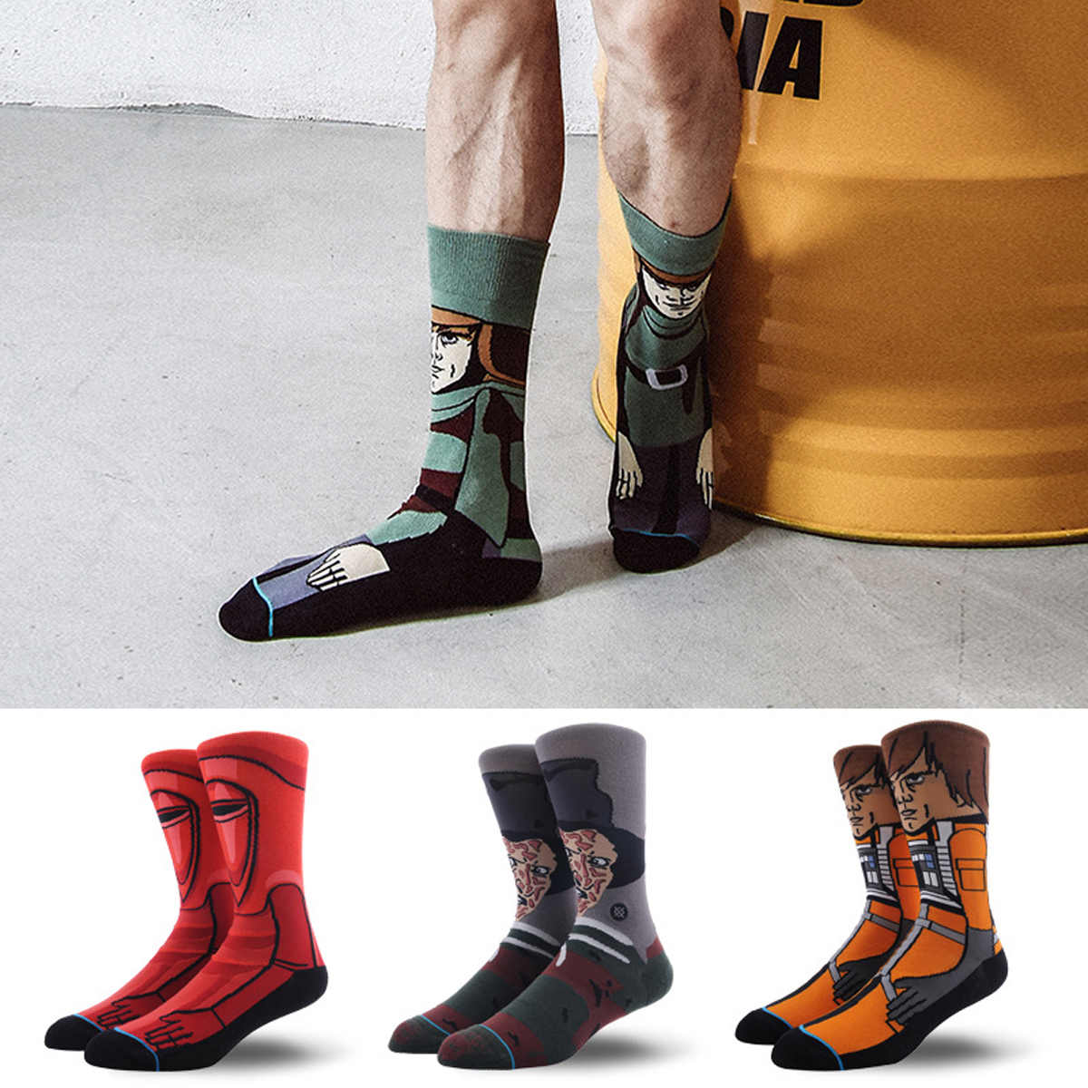 New Star Wars The Last Jedi Funny Cotton Socks Men Women Crew Long Happy Sock Male Winter Polo Warm Cartoon Print Flag Socks