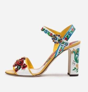 Newest 2019 Embellished Flower Print Platform Sandals Women Ankle Strap Womens Square Heel Sandals Plus Size 10 Wedding Shoes
