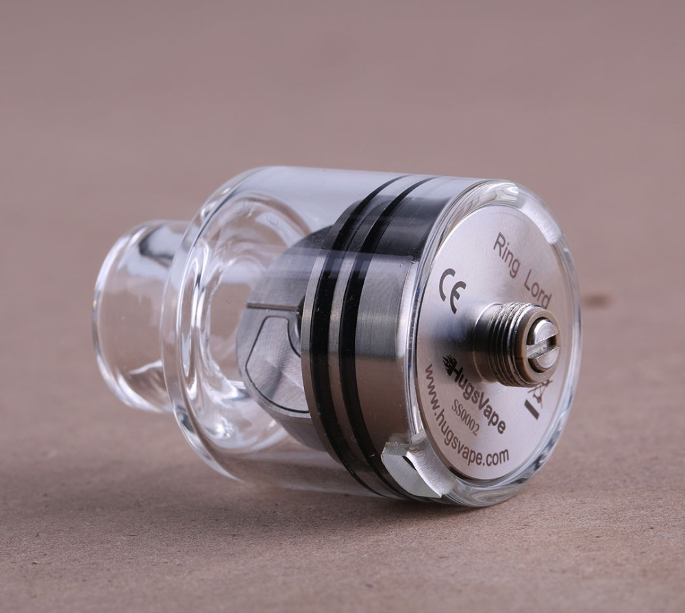 Original Hugsvape anneau seigneur RDA Cigarette électronique 27mm Pyrex Tube de verre Vape mécanique Squonk BF broche atomiseur pour 510 Mod