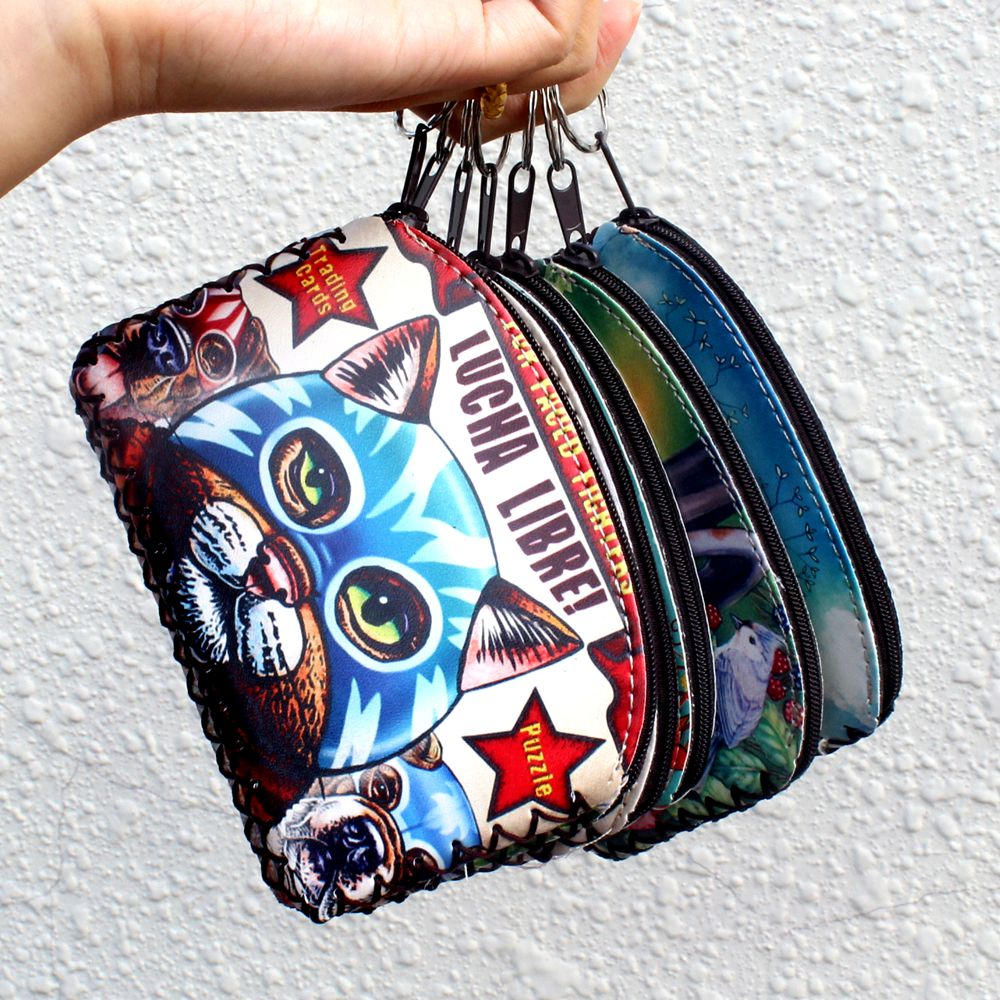 New graffiti cat elephant owl coin purses card holder Handmade Change purse zero wallets women clutch zipper coins bag pouch #50 coneed fashion women coins change purse clutch zipper zero wallet phone key bags j27m30