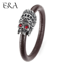 Men's Genuine Leather Braided Bracelet with Stainless Steel Magnetic Skull Clasp Male Lion Charms Bangle Rope Fashion Jewelry obsede fashion genuine leather bracelet for men jewelry stainless steel bangle magnetic clasp black braided rope chain male gift