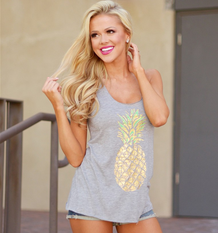 gothic print pineapple fruit tanks girls love white top womens sexy clothes street style clothing tank tops casual summer in Tank Tops from Women 39 s Clothing