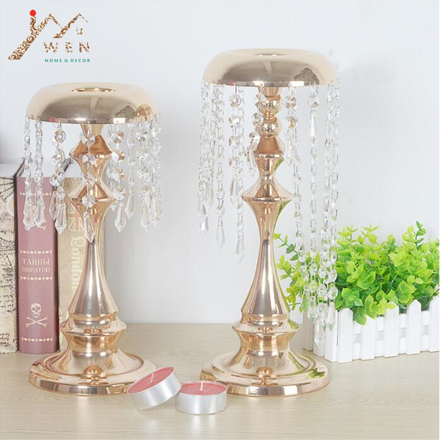 Metal delicate gold plated candle holder with crystals wedding candelabra/centerpiece wind chimes type decoration & Metal delicate gold plated candle holder with crystals wedding ...