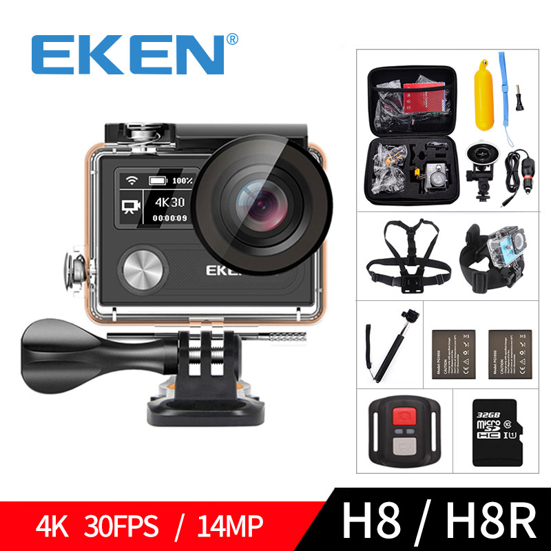 EKEN H8 H8R Ultra HD 4K 30FPS WIFI Action Camera 30M waterproof 14MP 1080p 60fps DVR underwater go Helmet extreme pro sport cam original ruisvin s30a 4k wifi full hd 1080p 60fps 2 0 lcd action camera 30m diving go waterproof pro camera ultra hd sports cam