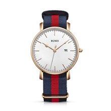 BUREI 13002 Suiza relojes hombres marca de lujo Bauhaus serie Milan amantes de zafiro de oro rosa relogio masculino feminino