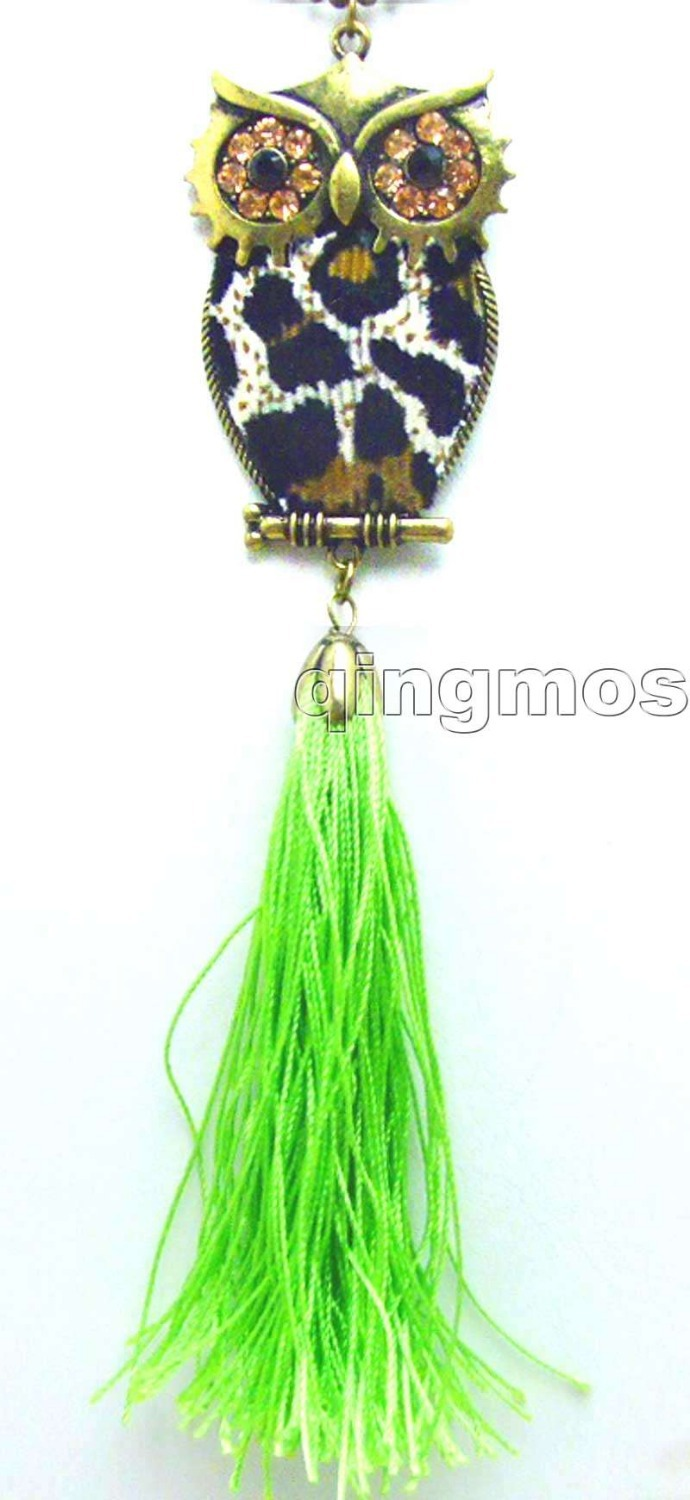 f8d0dcfe687 SALE Fashion Trendy Big 35 50mm OWL with Green Silk thread Charm pendant  sweater Vintage 31-34 Necklace -nec5755 free ship