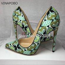 ee84cf2950ea88 Kostenloser versand mode frauen Pumpt dame grün gedruckt schlange Spitze  Zehen high heels schuhe size35-43 12 cm 10 cm 8 cm .