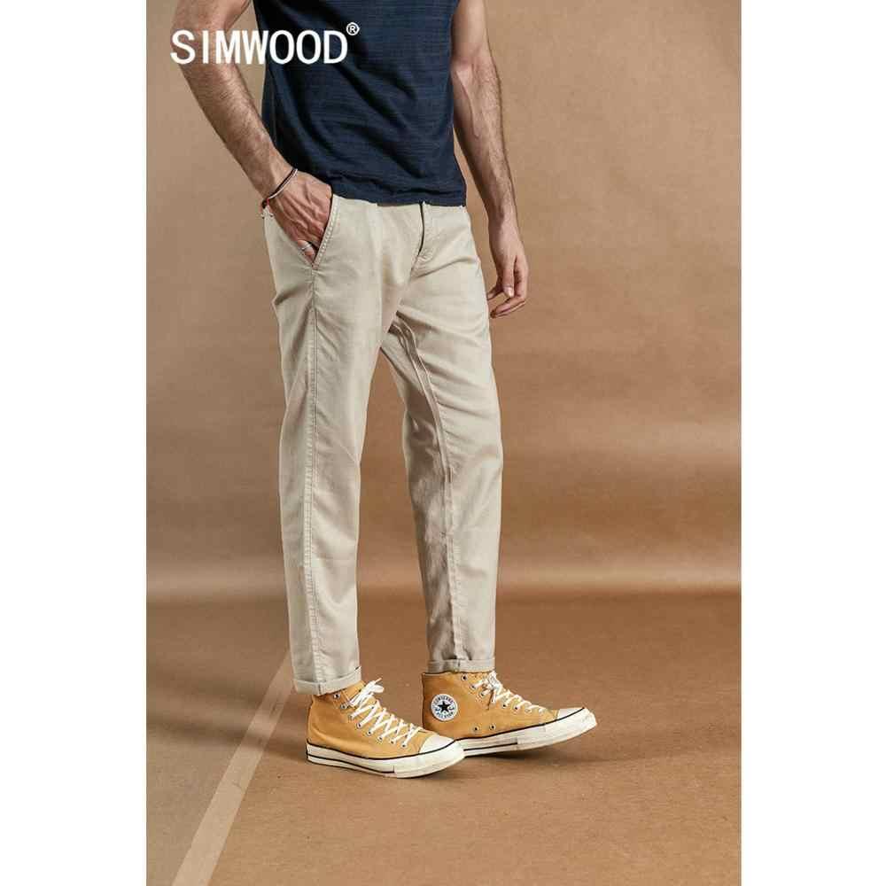 SIMWOOD 2019 ฤดูใบไม้ร่วงใหม่ข้อเท้าความยาวกางเกงผู้ชายผ้าลินินผ้าลินินสบายๆกางเกง plus ขนาดเสื้อผ้าคุณภาพแบรนด์ 190359