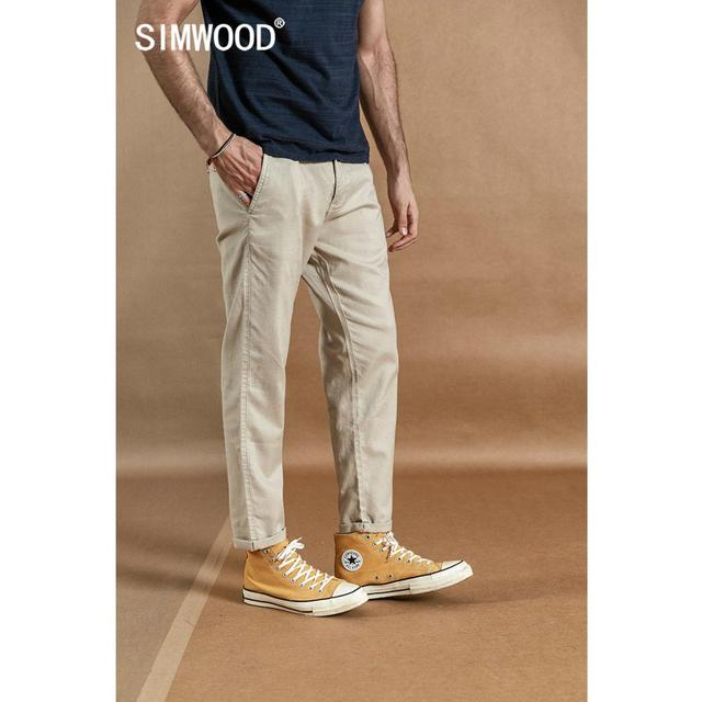 SIMWOOD 2020 spring new ankle-length pants men cotton linen casual trousers plus size high quality brand clothing  190359 1