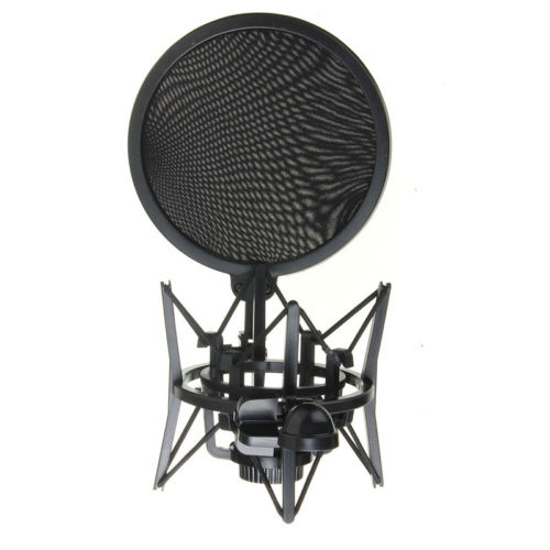 Audio Mic Microphone Shock Mount Stand Holder with Integrated Pop Filter Screen Micropho ...
