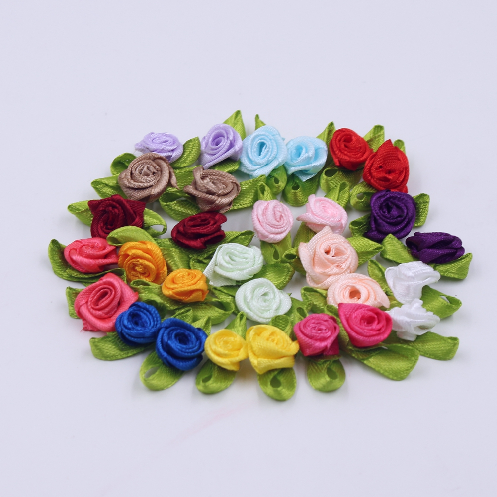 50pcs/lot Silk Bow-Knot Mini Rosette For Home Wedding Party Ribbon Cake Bow Tie Decoration Scrapbooking DIY Crafts Supplies