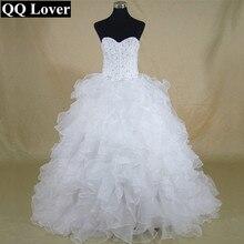 QQ Lover Vinatge Plus Size Wedding Dress Vestido De Noiva Bridal Gowns Cheap Sweetheart Custom Made Ball Bead Curto Garden