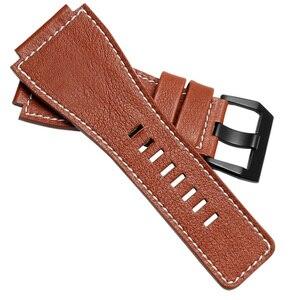 Image 5 - 25mm x 35mm paski do zegarków z naturalnej skóry czarny brązowy żółty mężczyzna zegarek bransoletka z paskiem z stalowa klamra