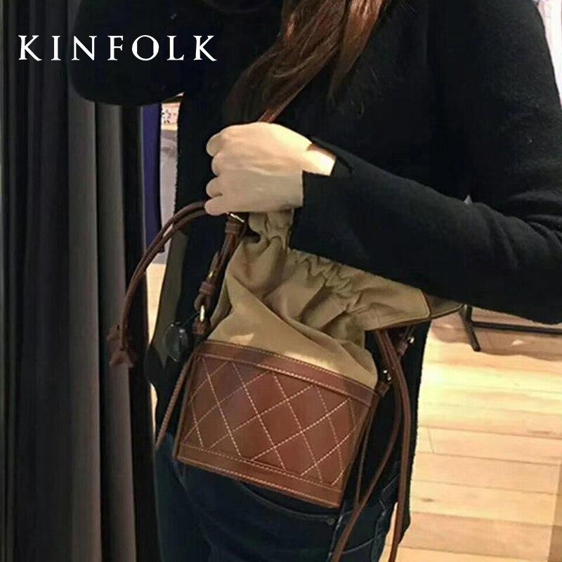 Shoulder Bag 2019 New Oblique Korean Flannel Spell Leather Rhombic Drawstring Tote Bag Multi-function Bucket Bag Handbag
