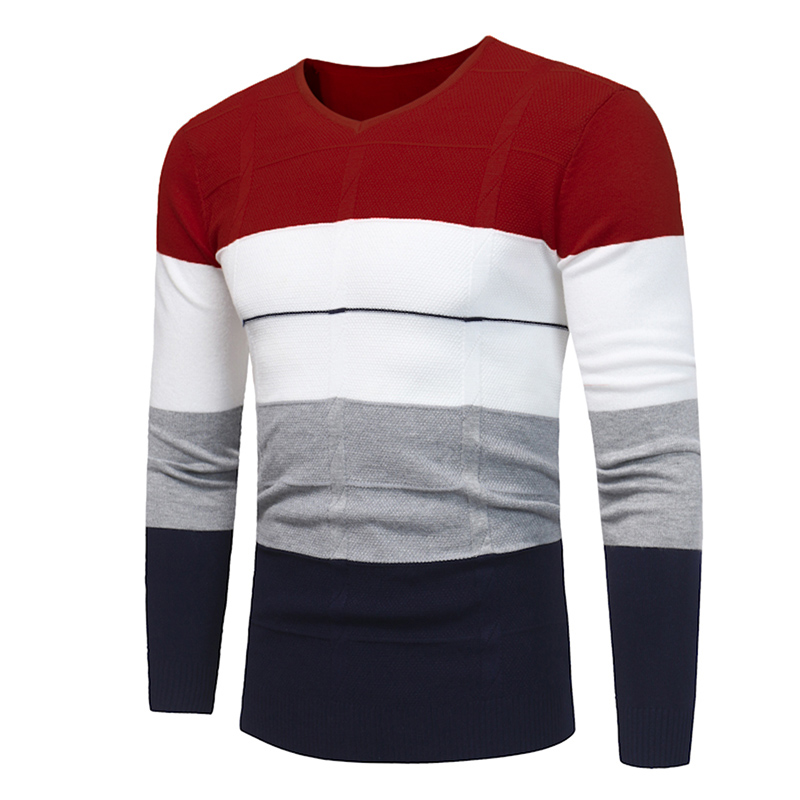 2018 New autumn and winter hot fashion warm sweater mens brand V-neck sweater fight color casual Slim pullover sweater 3 Colors