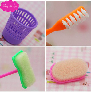 Миниатюрная щетка для чистки кукольного дома, американская игрушка для маленьких девочек, аксессуары для швабры, метлы, мусорного ящика, пы...
