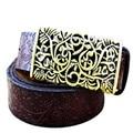 Nueva Llegada 1 UNID Moda Mujeres Dividir Las Mujeres Cinturones de cuero Hebilla de Metal de La Vendimia tallada cinturones Pretina de La Mujer mujer Correas nq871019