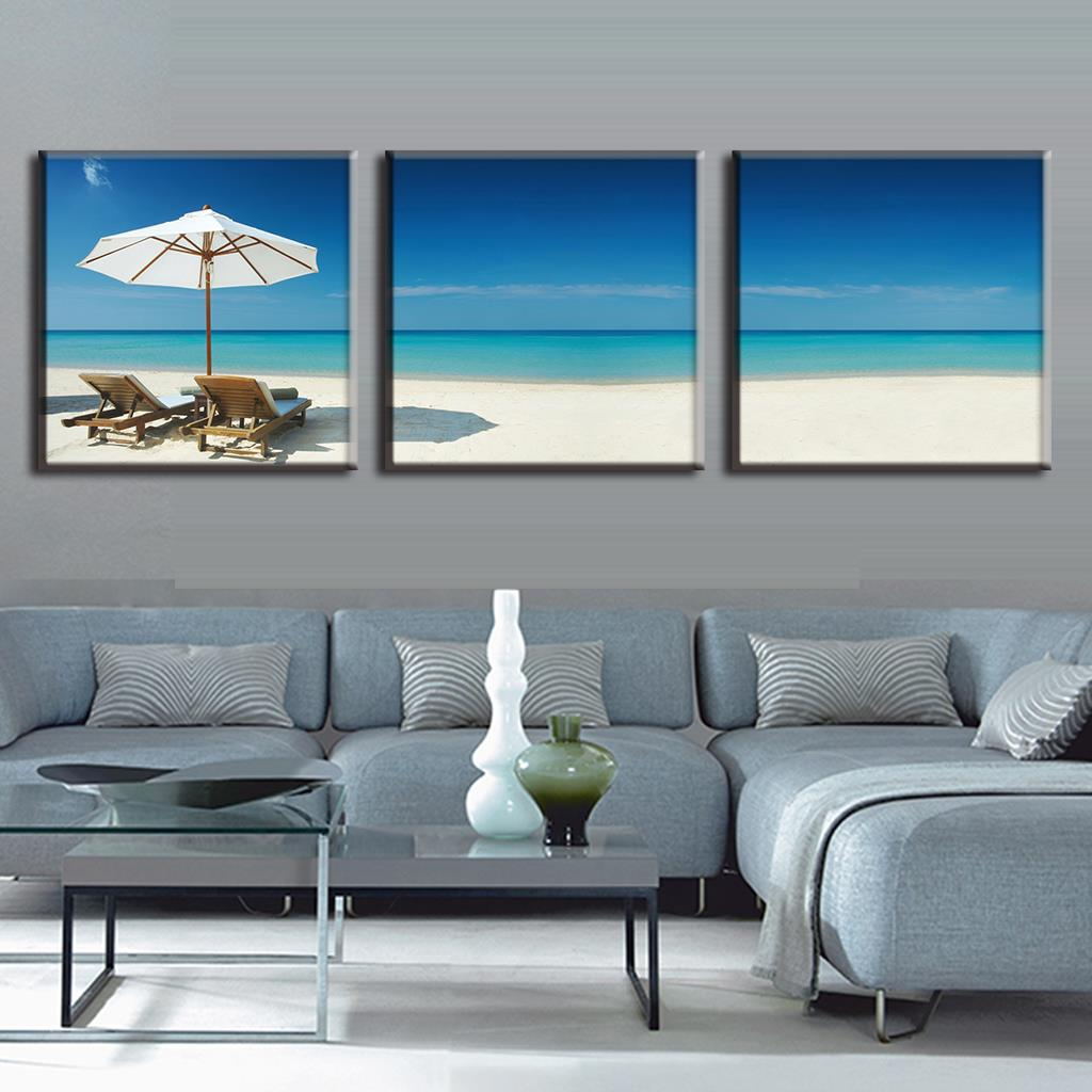 3 Pieces Modern Oil Painting On Canvas Beach holidays paint picture Oil Beach Painting decoration home picture