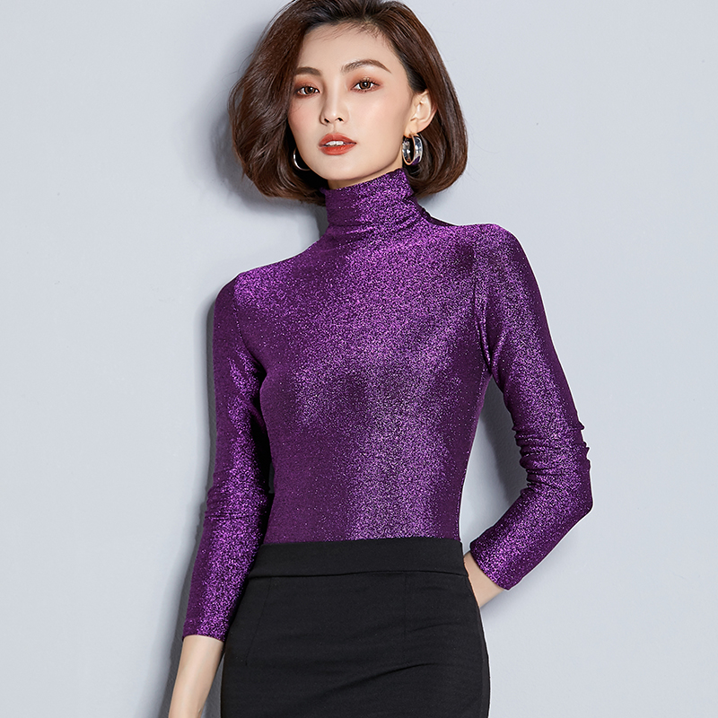 Vintage bright silk   shirt   long sleeve Turtleneck   shirt   women elastic slim tops autumn winter skinny   blouse   fashion tight tees