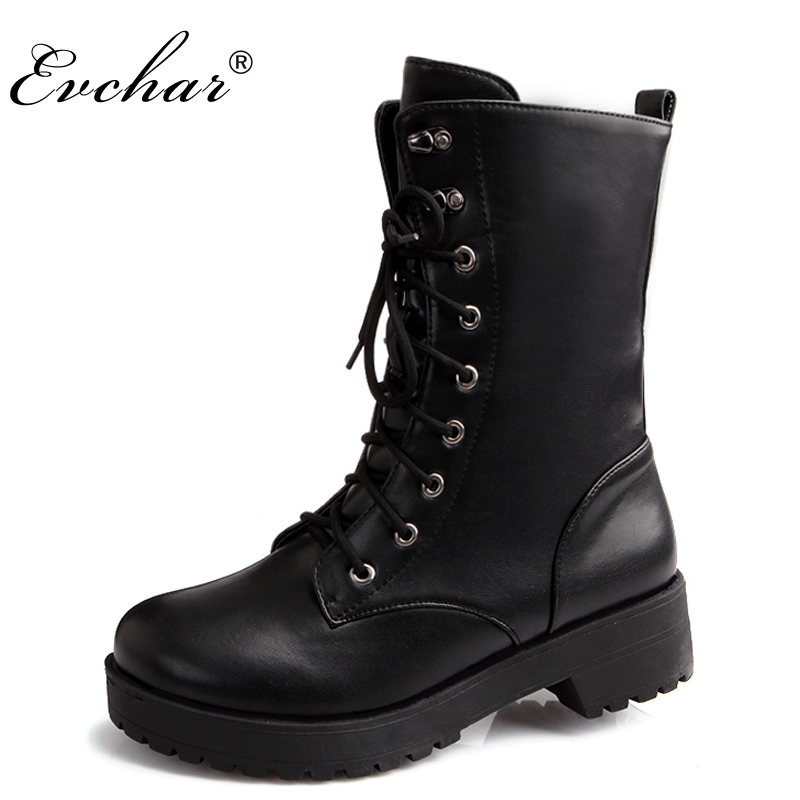 New Handmade Autumn and Winter  Lace Up Mid Calf Boots Women Chunky Heel Round Toe Motorcycle  Low Heel Boots Large Size 34-43 trendy low heel and double buckle design women s mid calf boots