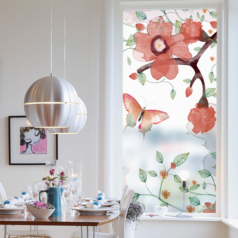 Us 7 92 20 Off Free Custom Static Cling Window Film Frosted Opaque Privacy Stained Gl Sticker Home Decor Digital Print Blt895 Erfly Fly In