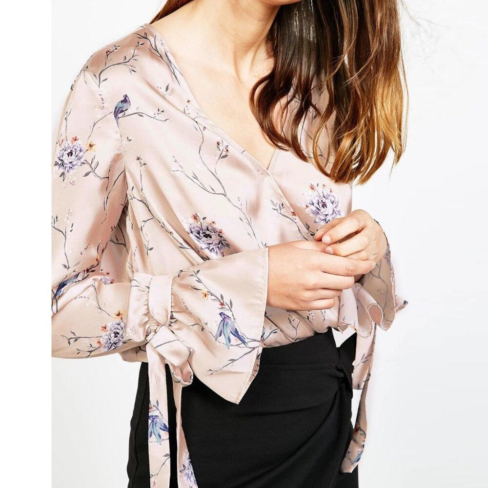 2017 Printemps Blusas Automne Chemises Femmes V Cou Sexy Blouses Floral Vetement Femme Plus Size Clothing Femmes Tops Boho Vintage S472