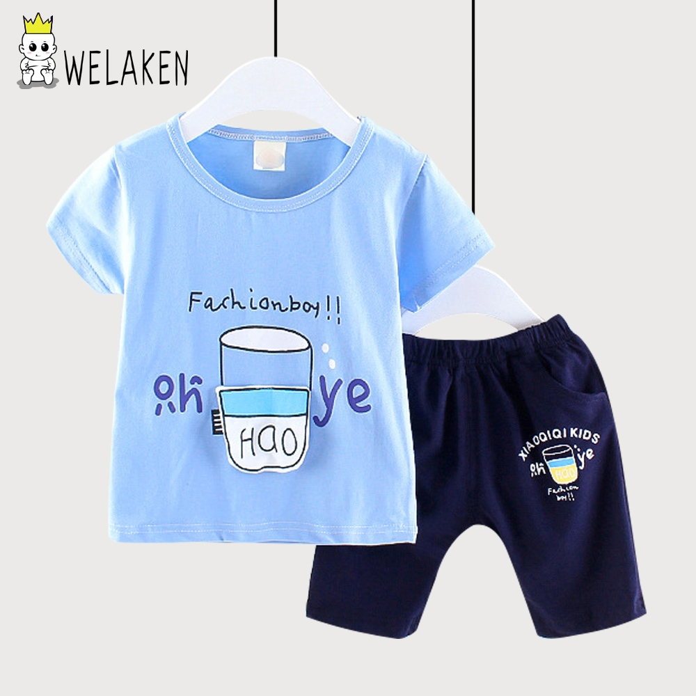 weLaken 2018 Summer Childrens Sets Fashion Baby Boys O-neck Short Sleeve Cute Pattern T Shirts + Shorts 2 Pcs Sets Beachwear