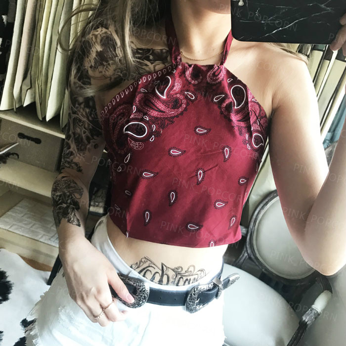 43dc72993b5784 4 Colors Monochrome Paisley Bandana Lace up Halter Crop Tank Tops 2019 New  Fashion Women Summer Holiday Backless Camis Biki-in Camis from Women's  Clothing ...