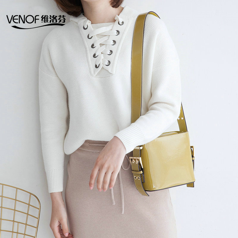 VENOF patent leather women Messenger Bag ladies small bucket bags wide straps female shoulder bags brand crossbody bag for women