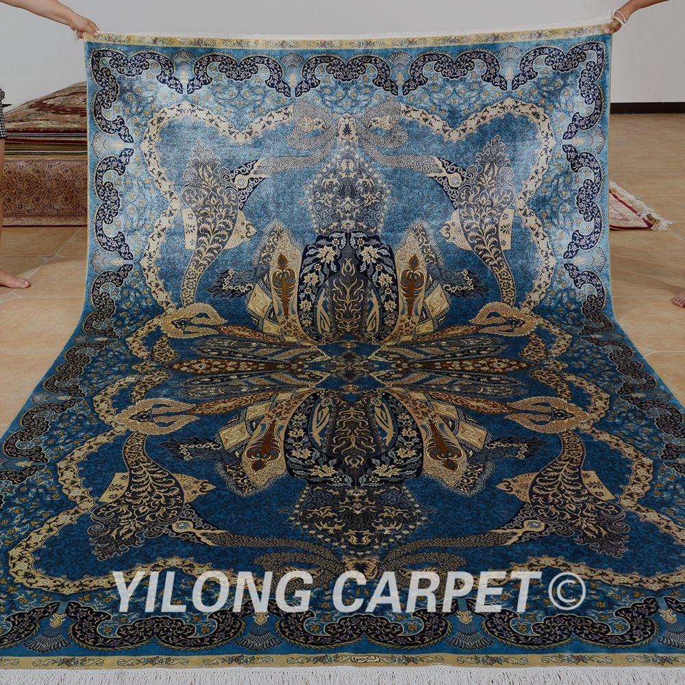 Yilong 6.56'x9.84 'hurtownia orientalny dywan niebieski iran qum - Tekstylia do domu - Zdjęcie 2